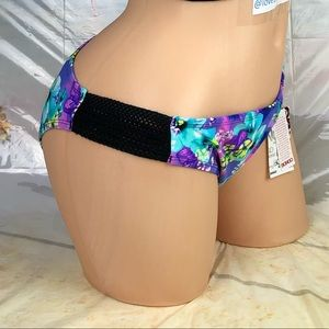 BONGO Swim - 🆕Ⓜ️ Floral purple mesh insert bikini swim bottom